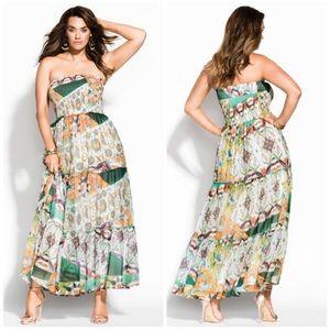 NWT City Chic Tropical Strapless Bilbao Maxi Dress